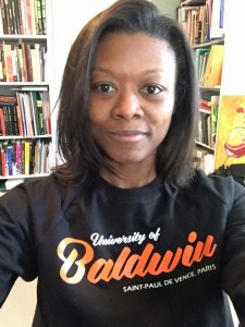 My fabulous friend Carie gave me one of the sweatshirts I've been coveting, so I had an extra dose of Baldwin helping me tame Chapter 5!